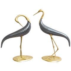 Pair of Murano Glass Herons, Italy, circa 1970