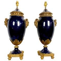 Pair of French 20th Century Louis XVI Style Blue Sèvres Porcelain Lamps