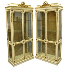 Karges French Louis XV XVI Style Cream & Gold Gilt Curio Display Cabinets, Pair