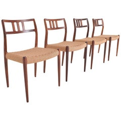 Set of Four Rosewood Chairs Model 79 by Niels Otto Moller