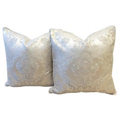 Satin Throw Pillow with Embroidered Damask Pattern