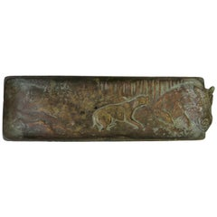 Bronze Vanity or Desk Tray with Hunting Scene