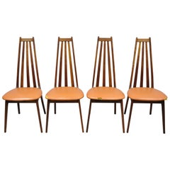 4 Tall Back Vintage Danish Modern Teak Wood Dining Chairs after Adrian Pearsall