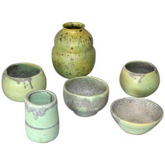 Vintage Handcrafted Aztec Green and Gray Pottery Bowls / Vessel, Set of 6