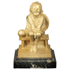 Nice Gilt Bronze Sculpture of a Child Seated on a Marble Base by Juan Clara