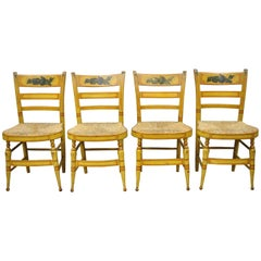 4 19th Century Bentwood Slat Back Rush Seat Yellow Paint Stenciled Dining Chairs