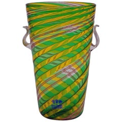 Fratelli Toso 'a canne' Vase with Aventurin, Murano, Italy, circa 1965