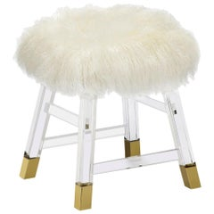 Italian Lucite Stool Upholstered in Ivory Sheepskin with Brass Detailing