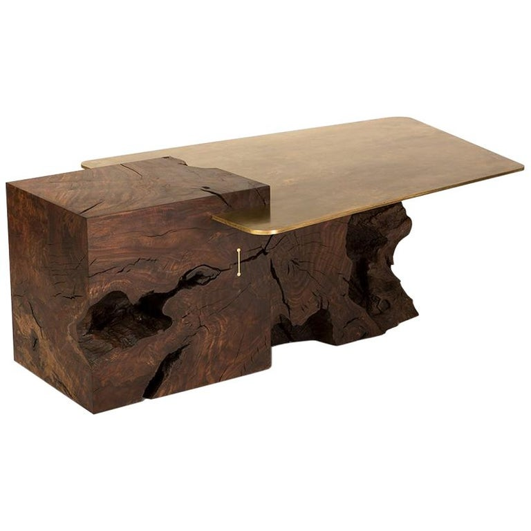 Modern Contemporary Brass and Claro Walnut Coffee Table by Taylor Donsker For Sale