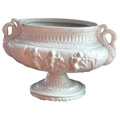 French Richly Decorated Centrepiece or Vase in White Porcelain