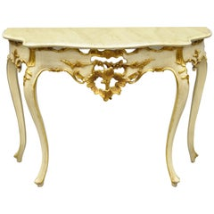 Vintage French Louis XV Rococo Style Cream and Gold Gilt Console Hall Table