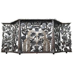Monumental Wrought Iron Fountain & Flowers Art Deco Console Table w. Marble Top