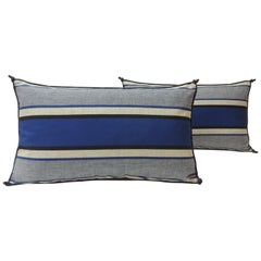 Pair of Vintage Indigo and White Stripes Lumbar Decorative Pillows