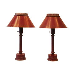 Classic Pair of French Red Painted Tole 'Tin' Table Lamps, France, circa 1930