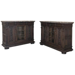Pair of 19th Century French Louis XIV Marble-Top Display Buffets