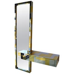 Paul Evans Cityscape Floating Console and Mirror by Directional Furniture