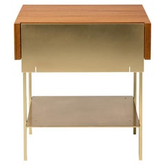 Hearns End Table with Teak Body and Brass Front, Shelf and Legs