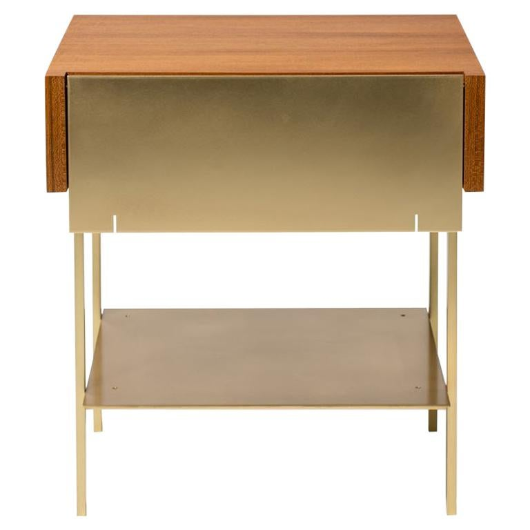 Hearns End Table with Teak Body and Brass Front, Shelf and Legs For Sale