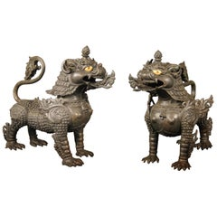 Fine Pair of Late 19th-Early 20th Century Chinese Iron Foo Dog Dragons