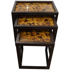 Andrianna Shamaris Coconut Shell Teak Wood Nesting Tables