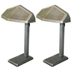 Paar französische frühe moderne Aluminium-Schreibtischlampen von Pirette, 1920-1930