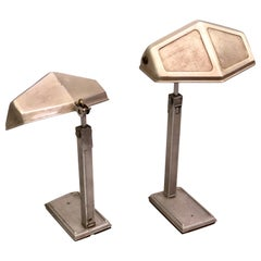 Pair of French Early Modern Adjustable Aluminum Table/Desk Lamps by Pirette 1930