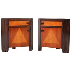 Pair of Sycamore Art Deco Amsterdam School Nightstands by Max Coini, 1920s
