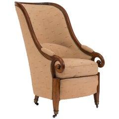 English Regency Style Walnut Club Chair