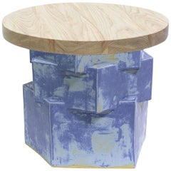 Three-Tier Contemporary Ceramic Blue Matte Hexagon Side Table with Ash Top