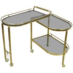 Brass Italian Hollywood Regency Swivel Rolling Bar Cart Server with Smoked Glass