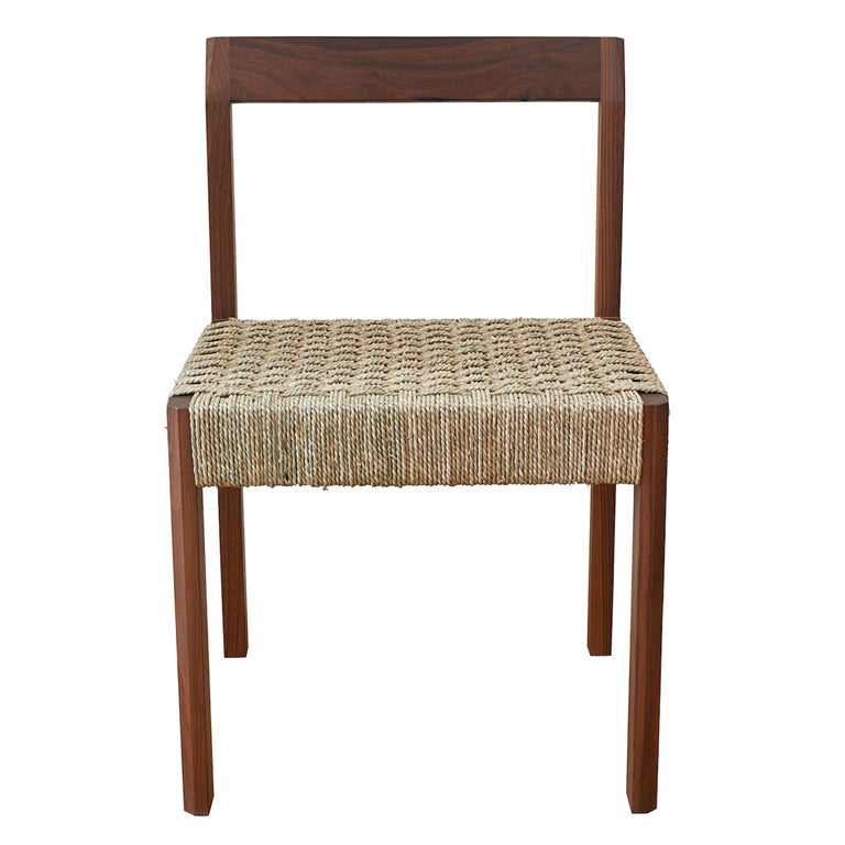 Oiled Walnut Faceted Armless Dining Chair with Danish Cord by Casey McCafferty For Sale