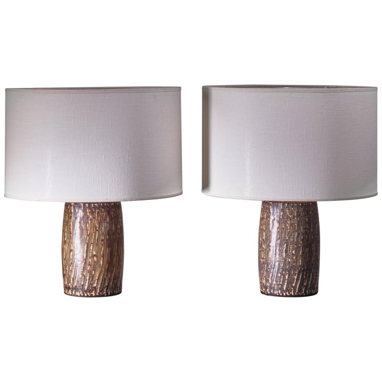 Pair of Gunnar Nylund Ceramic Table Lamps, Sweden, 1950s For Sale