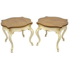 Pair of Karges French Louis XV Regency Style Burr Walnut End Tables