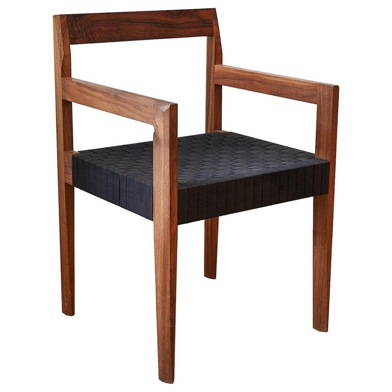 Oiled Walnut Handwoven Shaker Tape Faceted Dining Chair by Casey McCafferty For Sale