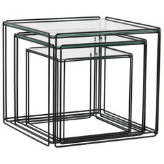 Mid-Century Modern Metal and Glass Nesting Tables by Max Sauze, 1970s