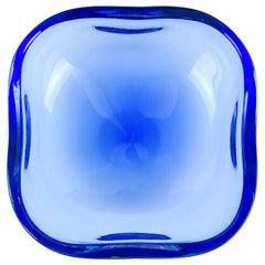 Oggetti Murano Sommerso Cobalt Blue Italian Art Glass Centerpiece Bowl