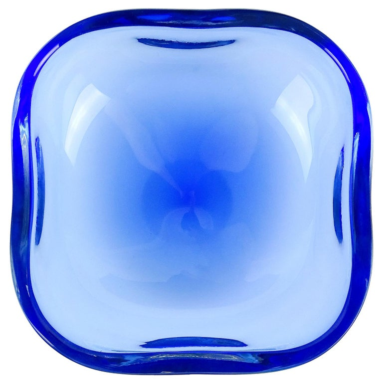 Oggetti Murano Sommerso Cobalt Blue Italian Art Glass Centerpiece Bowl For Sale