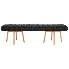 "Contemporary Wood Bench, Handwoven Upholstery, the ""Trama"", Black"