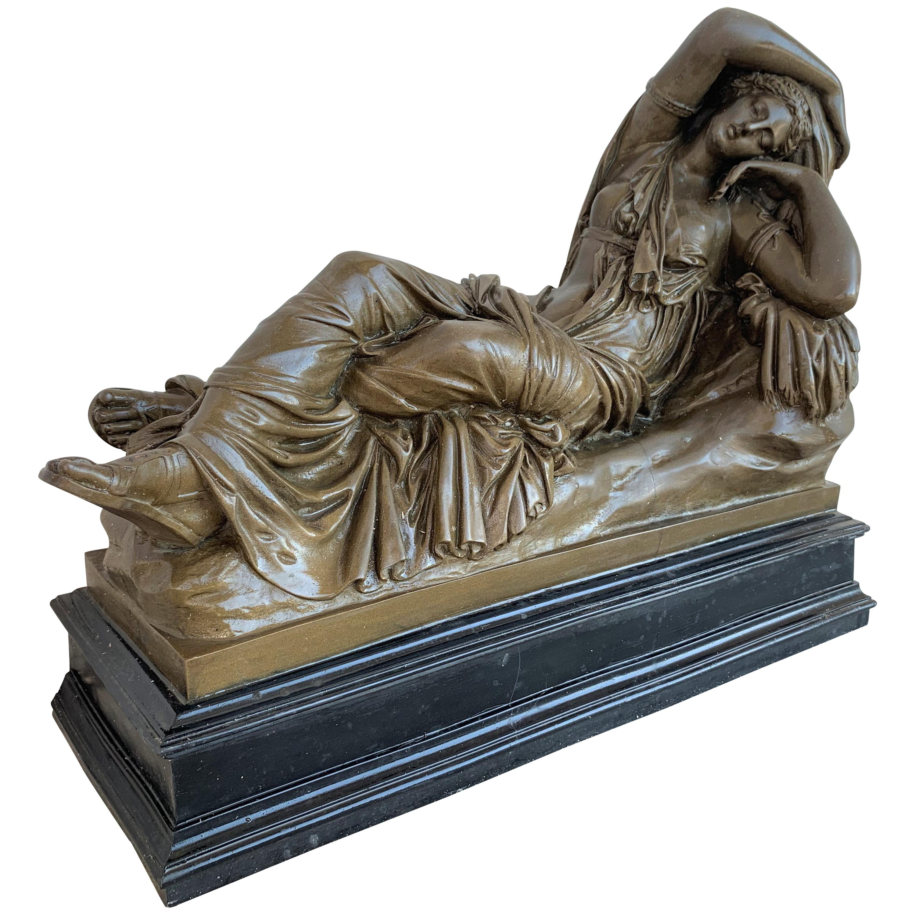 Italian Bronze Tuscany Neoclassical Style Sculpture Featuring a Relaxed Woman