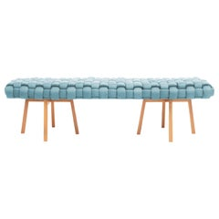 "Contemporary Wood Bench, Handwoven Upholstery, the ""Trama"", Blue"
