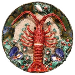 Early 20th Century French Ceramic Barbotine Lobster Platter from Brittany
