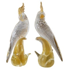 Large Pair of Seguso Murano Glass Cockatoo in Clear, White and Gold Inclusions