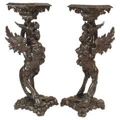 Pair of Italian Walnut Winged Griffin Pedestals