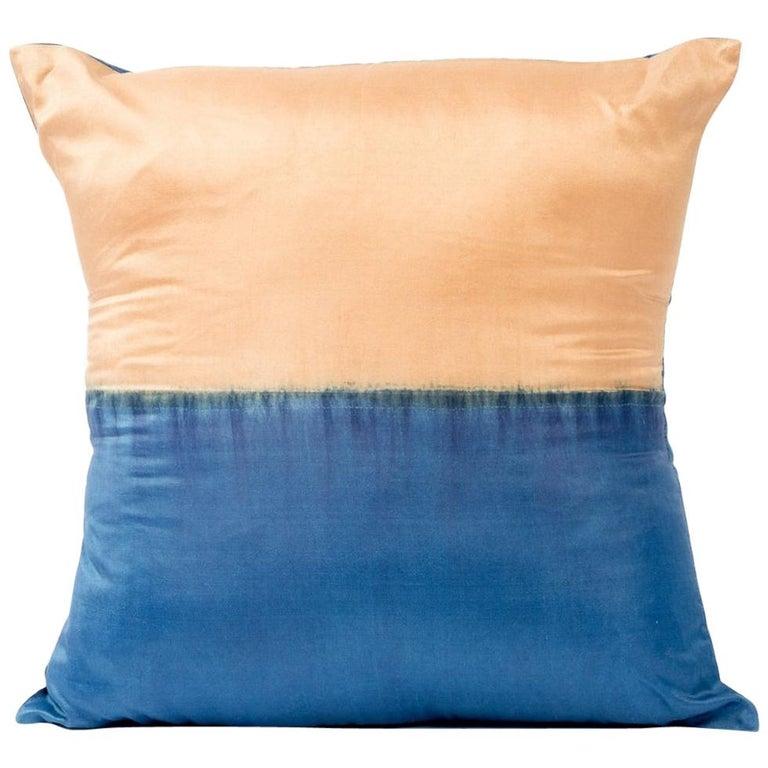 AAKAR Color Block Silk Pillow In Indigo Gold  For Sale