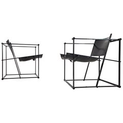 Pair of Steel and Leather FM62 Chairs by Radboud Van Beekum for Pastoe, 1980s