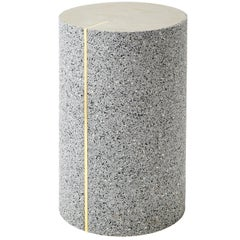 Rubber Cylinder in Gris Side Table, Made in USA