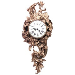 French Louis XV Bronze Doré Wall Clock