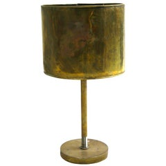 French Mid-Century Modern Marine Brass Table Lamp with Brass Shade