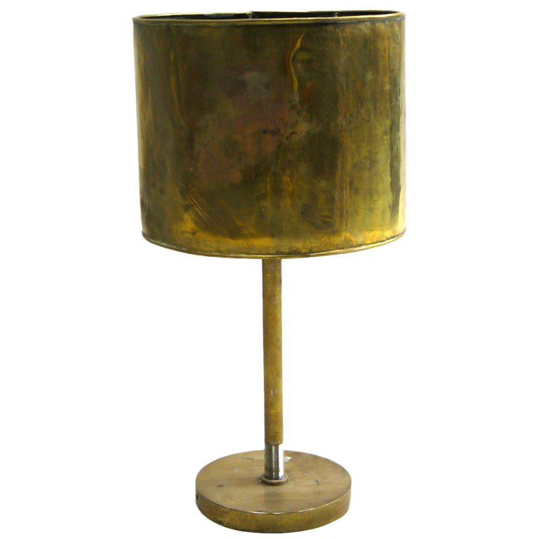 French Mid-Century Modern Marine Brass Table Lamp with Brass Shade For Sale