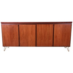 Skovby Danish Modern Rosewood Sideboard Credenza on Hairpin Legs, Newly Refinish